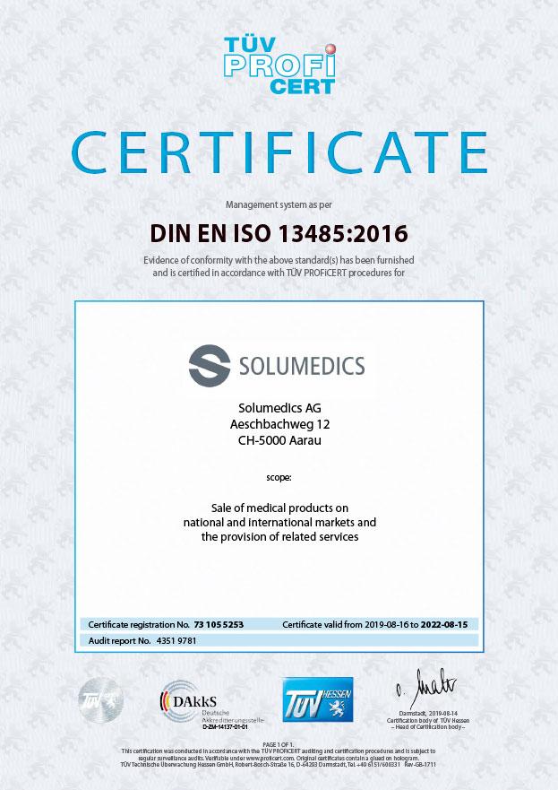 Certificate DIN EN ISO 13485:2016