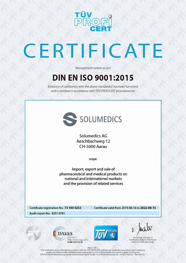Certificate DIN EN ISO-9001:2015
