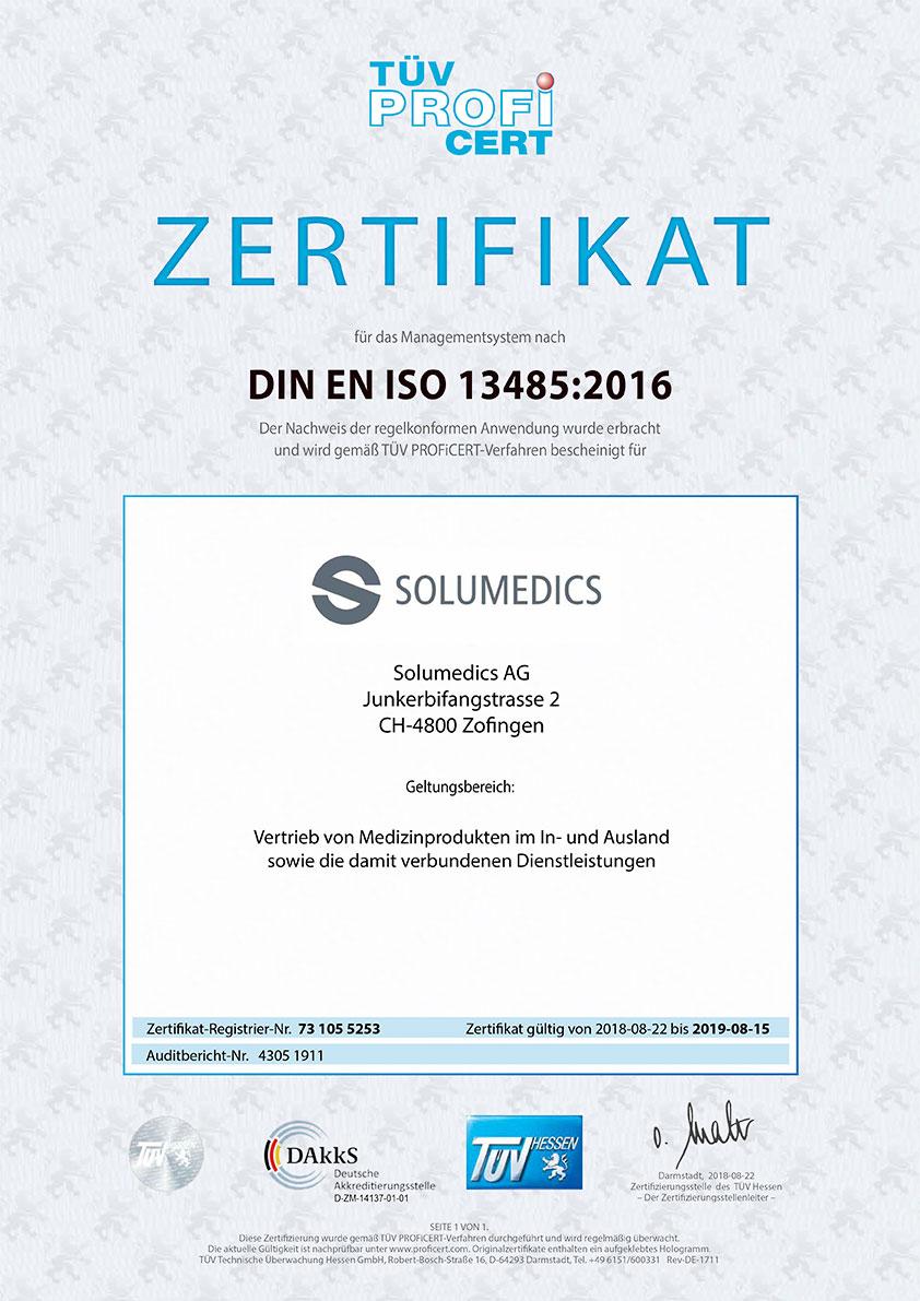 Zertifikat DIN EN ISO 13485:2016