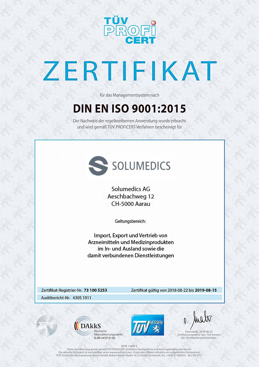 Zertifikat DIN EN ISO-9001:2015